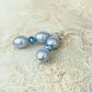 Pastel blue pearl & pyrite silver earrings