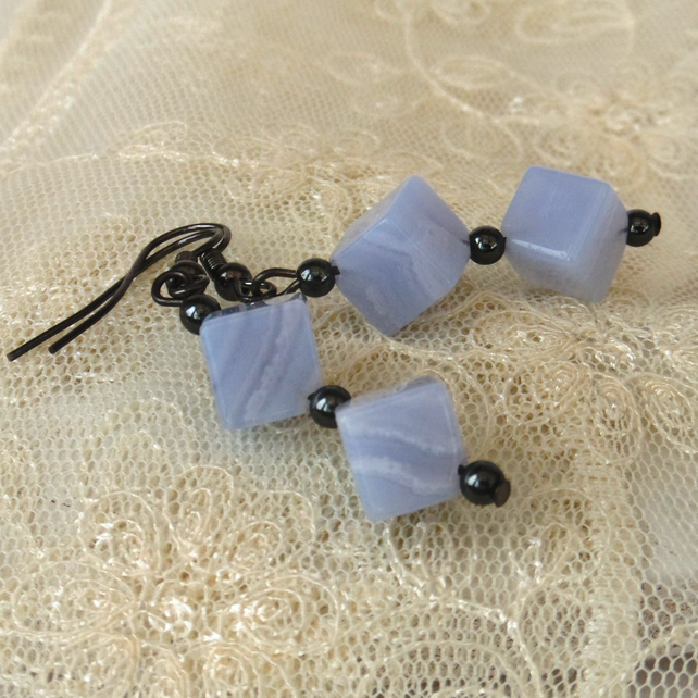 Blue lace agate cube earrings