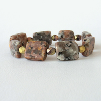 Brown jasper and crystal stretchy bracelet