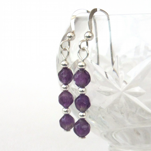 Dainty amethyst silver earrings