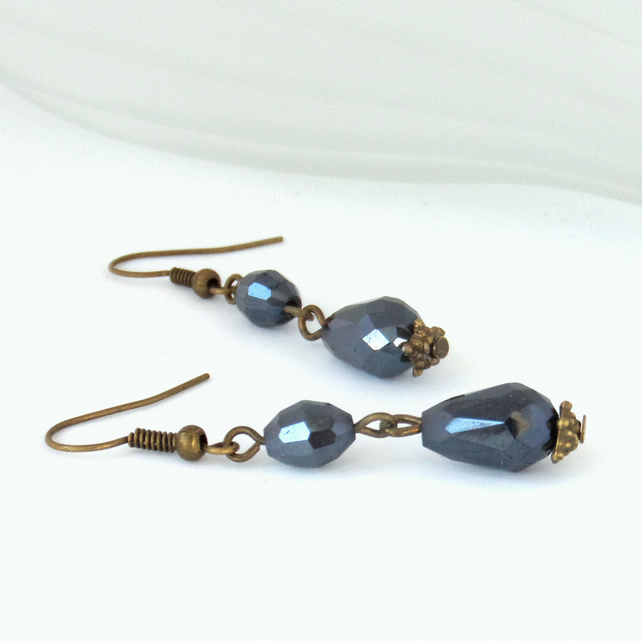 Vintage inspired double crystal and bronze earrings