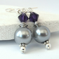 Silver shell pearl and purple crystal earrings