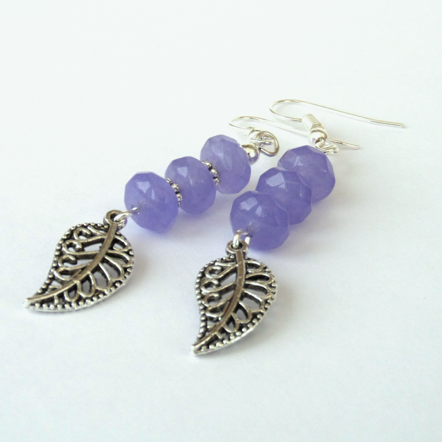 Dangly purple jade earrings with leaf charm, ideal birthday gift
