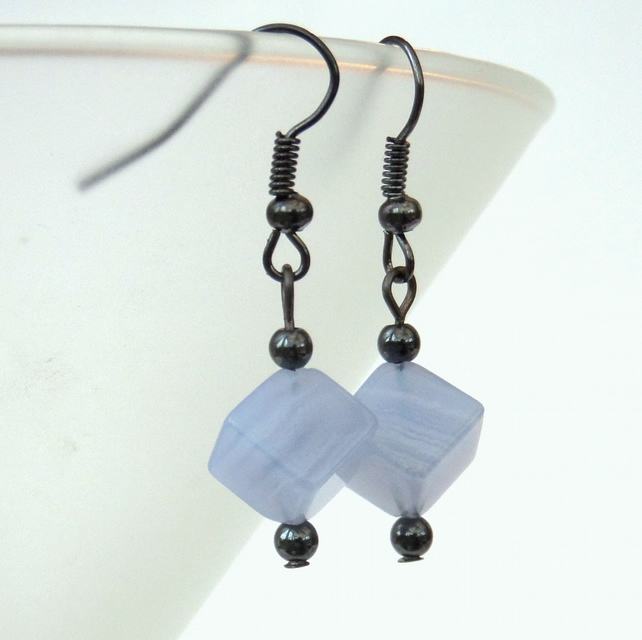 Blue lace agate cube earrings, great birthday gift