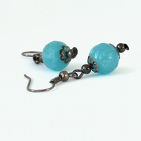 Blue quartz earrings, perfect birthday present