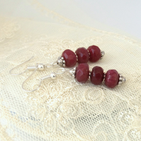 Ruby red jade dangly earrings