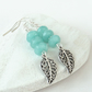 Amazonite dangly earrings with filigree leaf charm