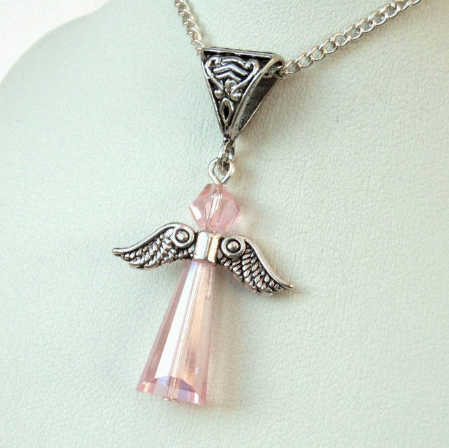 Angel necklace with pink crystal, lovely gift for best friend