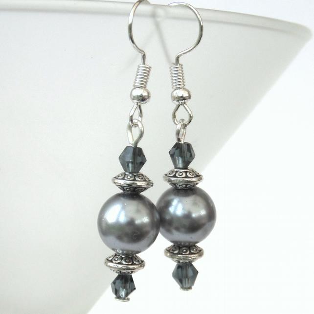 Silver shell pearl and blue crystal earrings, ideal birthday present