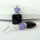 Black onyx and purple jade earrings
