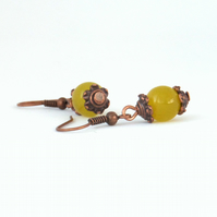 Copper earrings with peridot green jade, great birthday gift