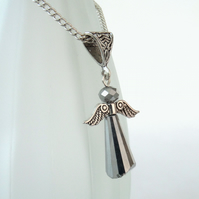 Silver crystal angel necklace