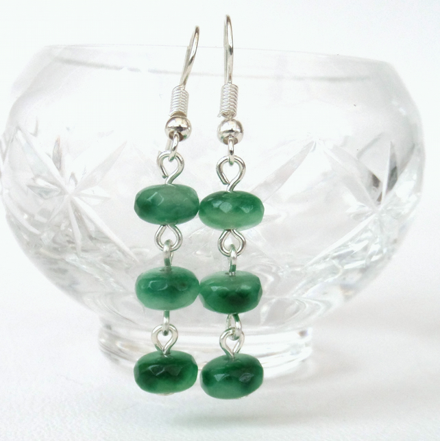 Dangly green gemstone earrings
