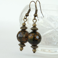 Vintage-style brown agate bronze earrings