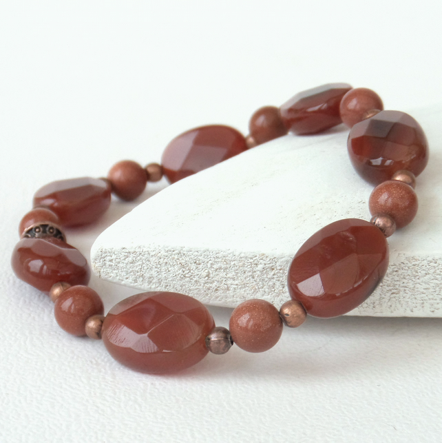 Carnelian ovals and copper stretchy bracelet
