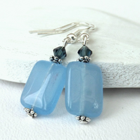 Pastel blue chalcedony rectangle earrings with crystal elements by Swarovski®