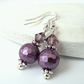 Purple - raspberry shell pearl earrings with Crystal elements by Swarovski®