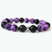 Purple casilica and black onyx stretchy bracelet