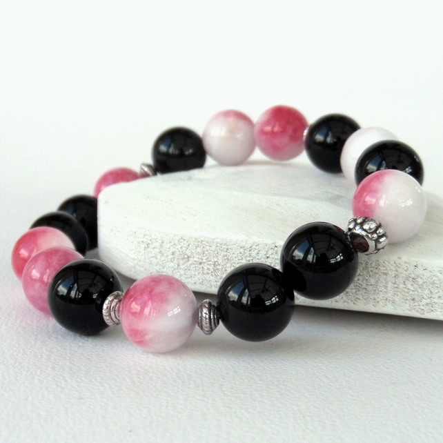Black onyx and pink and white jade stretchy bracelet, great birthday surprise