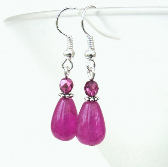 Pink chalcedony teardrop and crystal earrings
