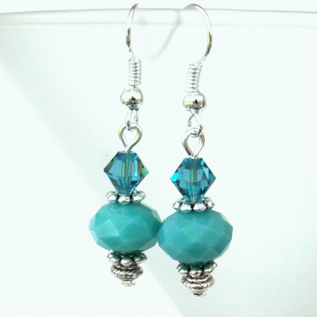 Turquoise blue earrings with Crystal elements by Swarovski®
