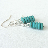 Blue howlite disc dangly earrings