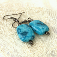Crazy blue agate earrings