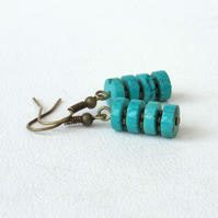 Turquoise and bronze dangly earrings