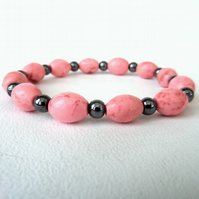 Pink turquoise and hematite stretchy bracelet, ideal birthday gift
