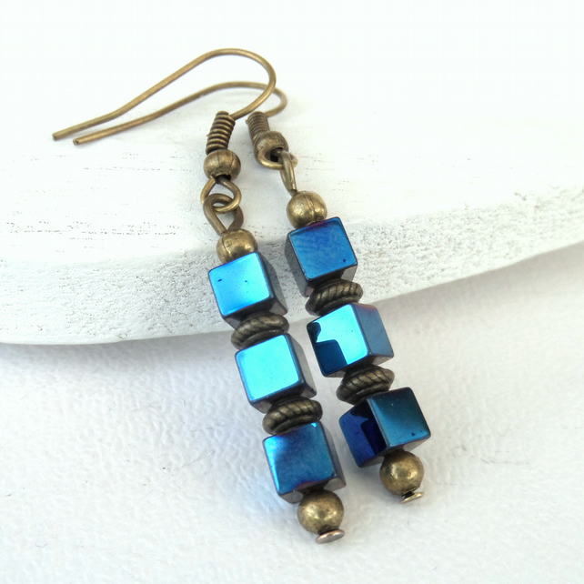 Metallic blue hematite cube earrings - great summertime jewellery