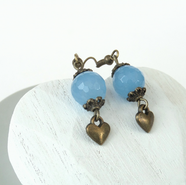 Cornflower blue quartz bronze earrings with heart charm