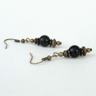 Black onyx and bronze handmade earrings