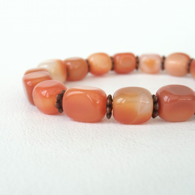Carnelian and copper stretchy bracelet - great birthday gift idea