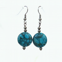 Blue jasper coin earrings, unusual handmade jewellery