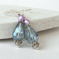 Crystal drop earrings in pastel blue and pink