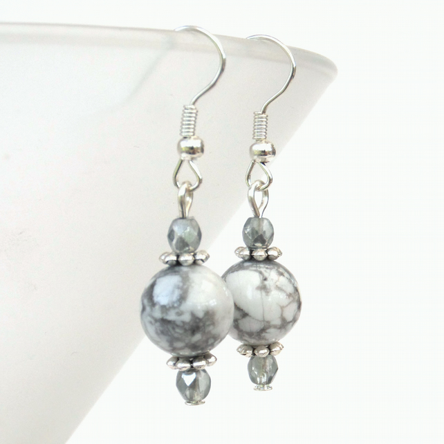 Howlite and crystal earrings