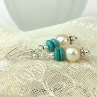 Swarovski® pearl earrings with turquoise howlite rings