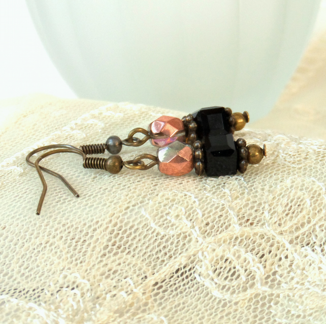 Earrings, Black and copper crystal earrings