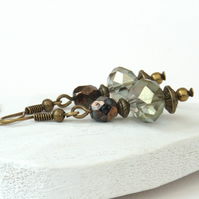 Crystal earrings with bronze beads and wires