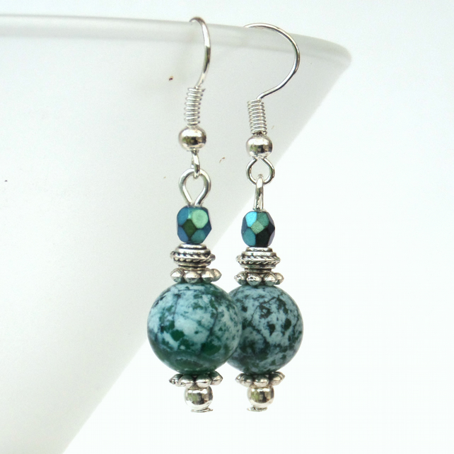 Green agate earrings with green crystal
