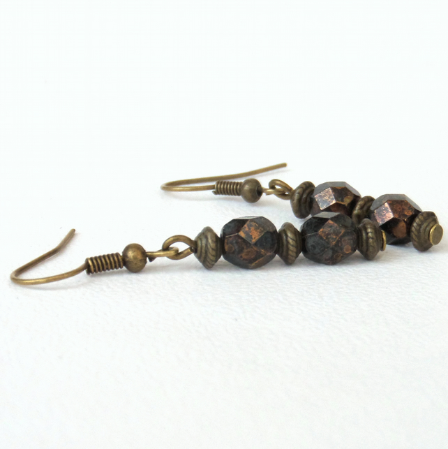 Brown crystal earrings, bronze earrings with rich brown crystals