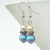 Swarovski® crystal pearl earrings, with light blue and ivory crystal pearls