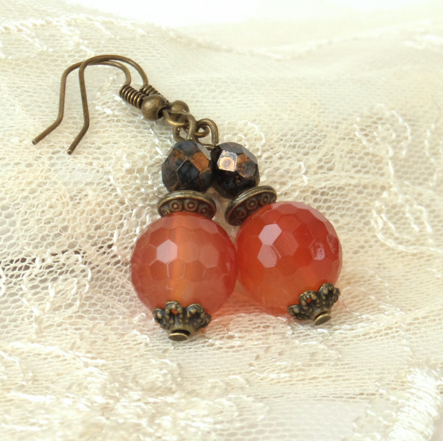Carnelian bronze earrings, with burnt orange carnelians and rich brown crystal