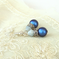 Swarovski® crystal pearl earrings, with deep blue pearls and blue crystal