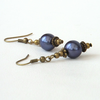 Blue shell bronze earrings