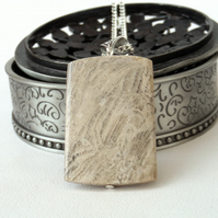 Cream fossil coral rectangular pendant necklace