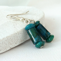 Chrysocolla blue-green earrings