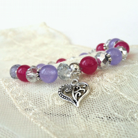 Stretchy pink and purple gemstone & crystal bracelet, with heart charm