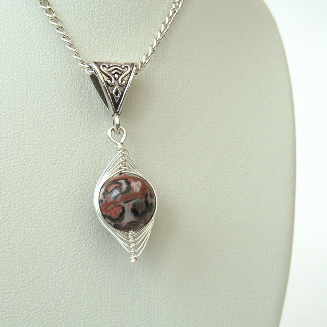Unique wire wrapped leopardskin jasper gemstone necklace