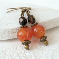 Orange agate bronze earrings with brown crystal